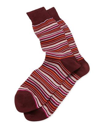 Mini-Multi-Stripe Socks, Burgundy
