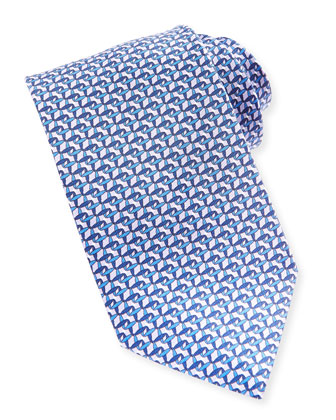 Chain Link-Print Tie, Blue