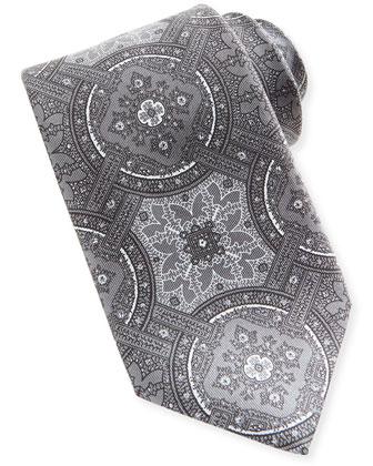 Wheel Medallion-Print Tie, Gray