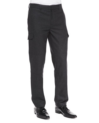 Slim Wool-Blend Cargo Pants, Charcoal