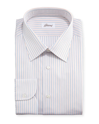 Ground-Stripe Textured Dress Shirt