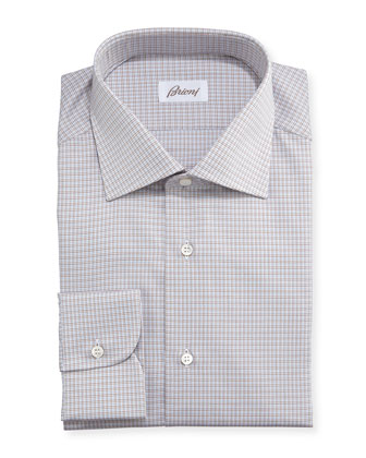 Textured Micro-Check Shirt, Brown