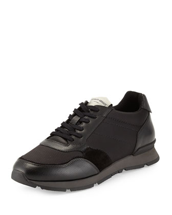 Tech-Fabric and Leather Sneaker, Black