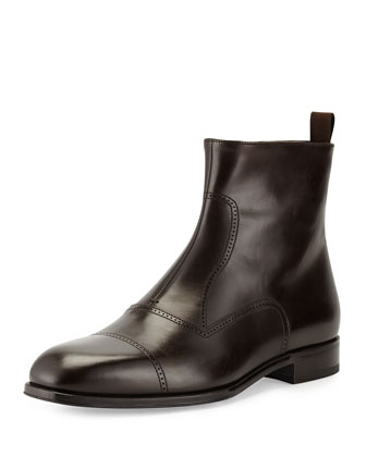 Leather Brogue Ankle Boot, Dark Brown