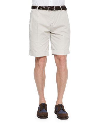Woven Pleated Shorts, Oatmeal