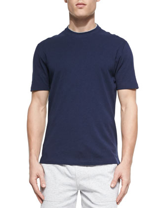 Cotton Crewneck Tee Shirt, Marine