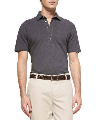 Fine Pique Knit Polo Shirt, Charcoal