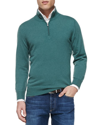 2-Ply Cashmere Half-Zip Sweater, Button-Down Slim-Spread Collar Shirt & ...