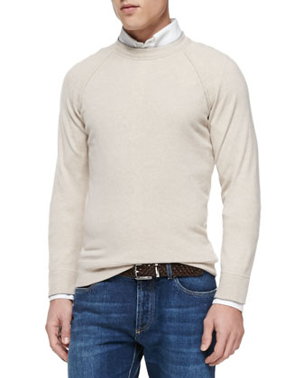 Felpa Cashmere Long-Sleeve Sweater, Sand