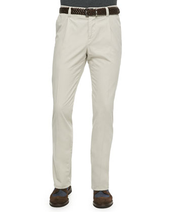 Woven Single-Pleated Pants, Oatmeal