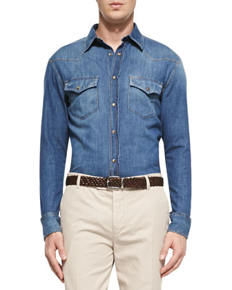 Denim Western Shirt, Indigo