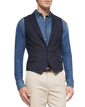 7-Gage Double-Breasted Sweater, 4-Button Peak Lapel Waistcoat, Denim ...