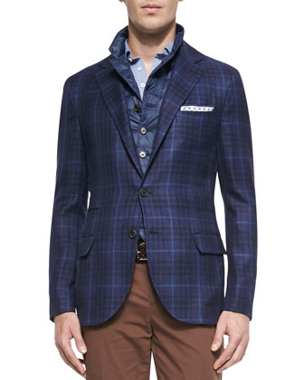 Woven Check Sport Coat, Quilted Notch-Lapel Vest, Fine-Knit Oxford Polo & ...