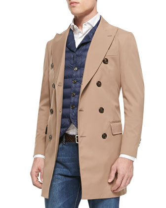 Nylon Double-Breasted Trench Coat, Quilted Notch-Lapel Vest, Slim-Spread ...