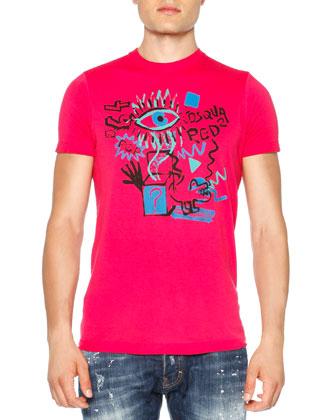 Graffiti-Print Graphic Tee, Pink