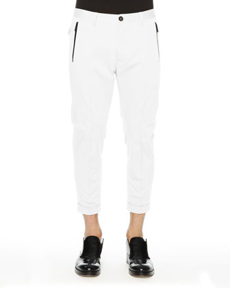 D Squared Cropped Pants with Black Zip, White