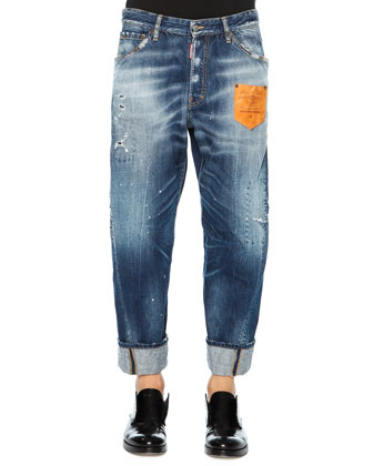 Workwear Denim Jeans with Leather Patch, Blue