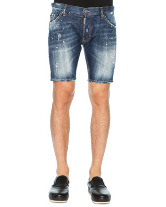 Distressed Denim Shorts, Blue