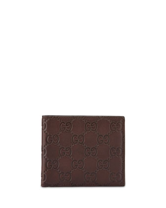 Microguccissima Leather Bi-fold Wallet, Brown
