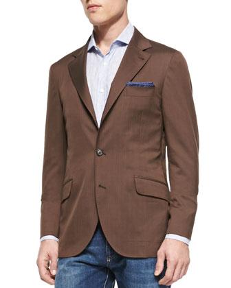 Herrinbone Deconstructed Jacket, Brown