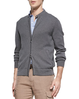 7-Gauge Knit Bomber Sweater Jacket, Gray