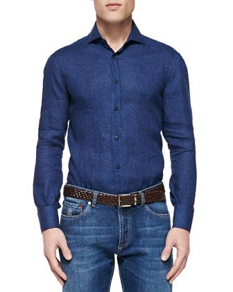Woven Linen Shirt, Navy