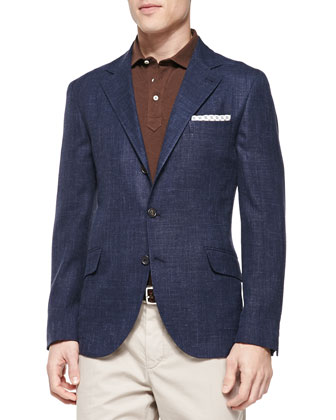 Woven Windowpane Sport Coat, Navy