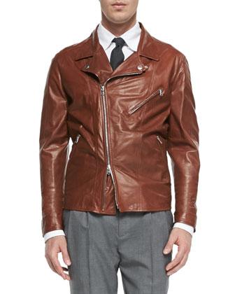 Oiled Calfskin Jacket, Tobacco