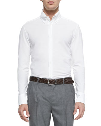 Button-Down-Collar Shirt, White