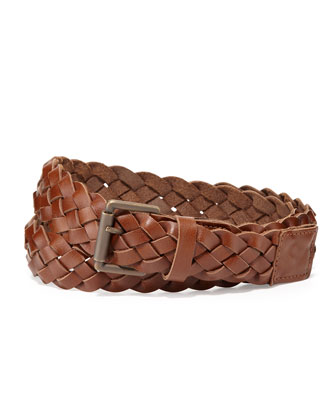 Braided Leather Belt, Brown