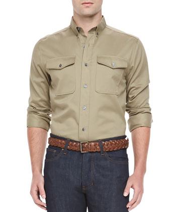 Military Long-Sleeve Shirt, Beige