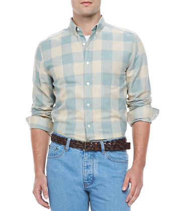 Check Long-sleeve Shirt, Beige/Aqua