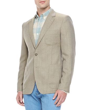 Wool Hopsack Two-Button Blazer, Beige