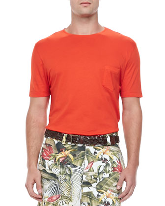 Cotton-Jersey Crewneck Tee, Orange