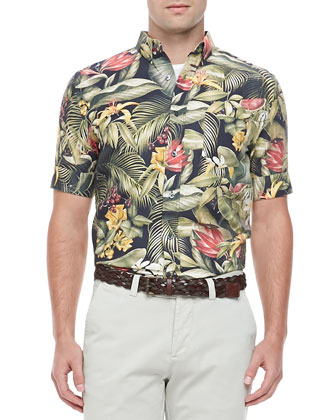 Floral-Print Short-Sleeve Woven Shirt