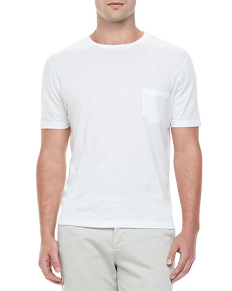Cotton-Jersey Crewneck Tee, White