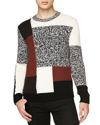 Mouline-Knit Abstract Check Sweater, Red