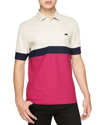 Short-Sleeve Colorblock Striped Polo, Pink