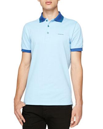 Short-Sleeve Striped Collar Polo, Light Blue
