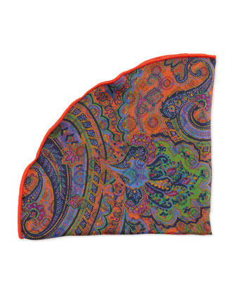 Circle/Paisley-Print Pocket Circle, Orange