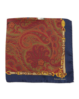 Pheasant-Print Silk Pocket Square