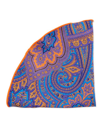 Paisley-Print Silk Pocket Circle, Royal/Orange