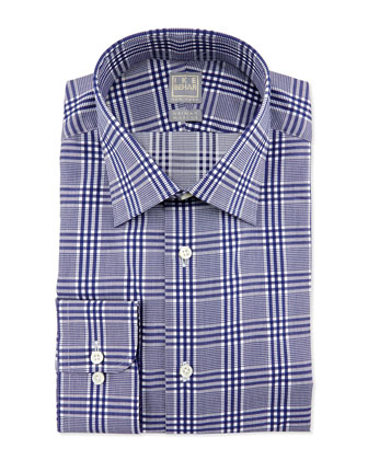 Glen Plaid Dress Shirt, Navy