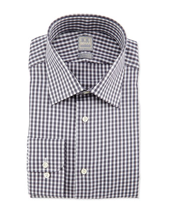 Gingham-Check Dress Shirt, Gray