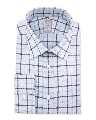 Textured Windowpane Dress Shirt, Blue