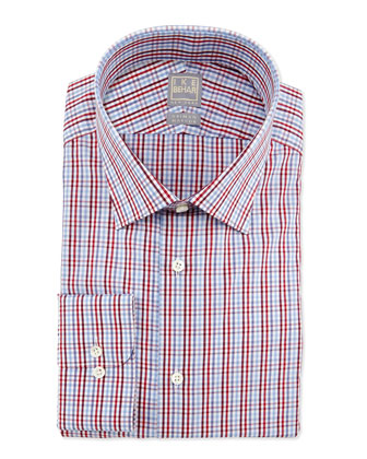 Tattersall-Check Dress Shirt, Red