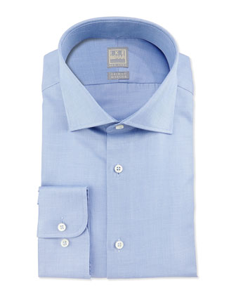 Solid Textured Dress Shirt, Sky Blue
