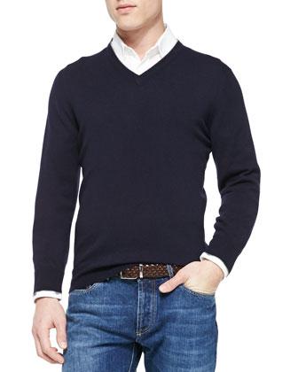 Cashmere V-Neck Pullover Sweater, Gray
