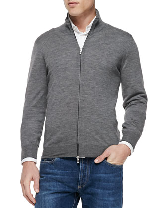 Fine-Gauge Full-Zip Sweater, Gray
