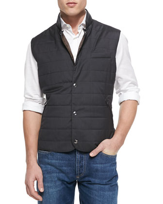 Wool/Silk Snap Fitted Vest, Gray